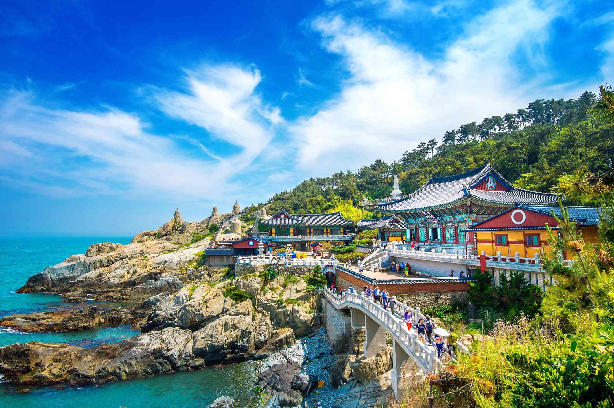 Haedong Yonggungsa Temple and Haeundae Sea in Busan, South Korea.