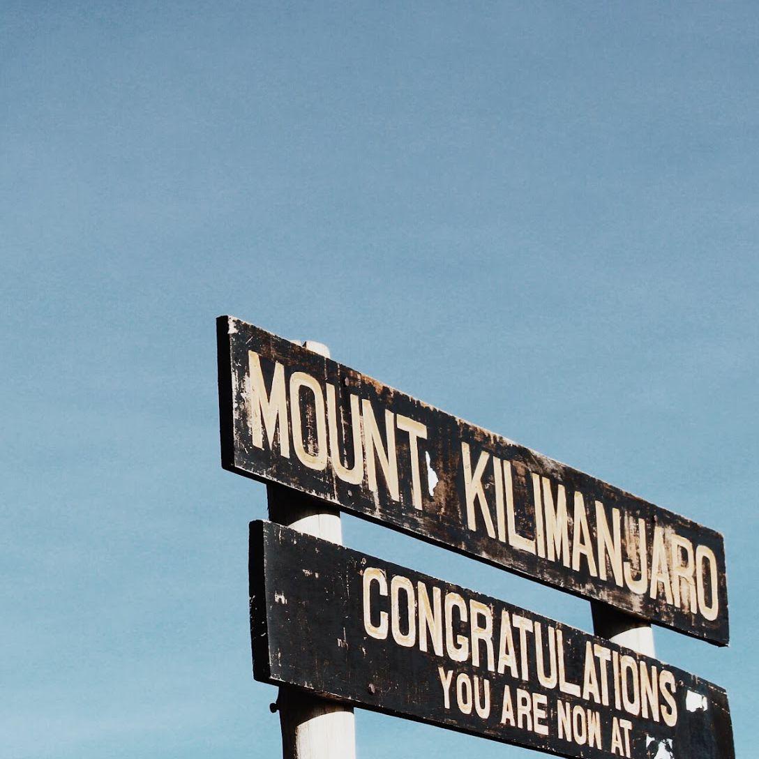 Sign at the summit of Mt Kilimanjaro
