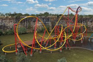 Wonder Woman roller coaster at Six Flags Fiesta