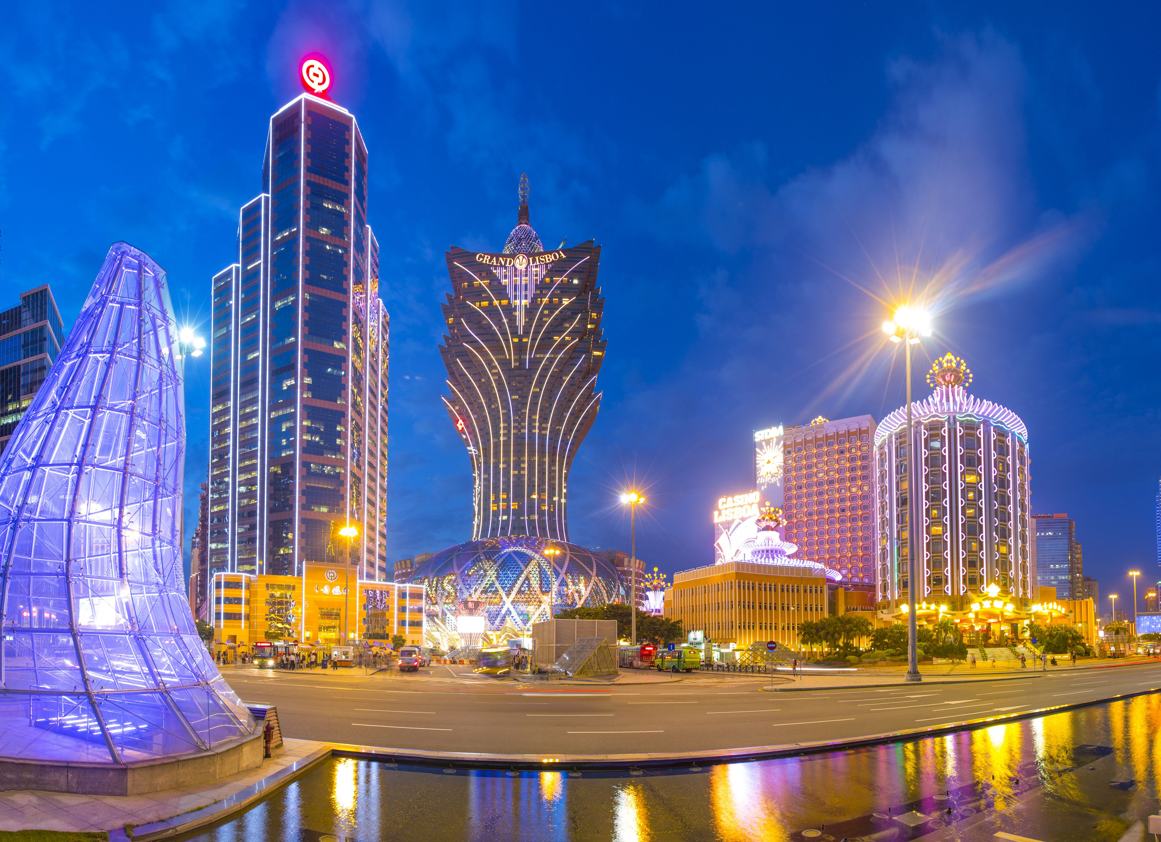 Casinos and commercial buildings at night, Macau