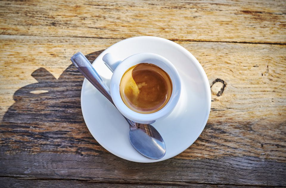 Espresso cup on wood