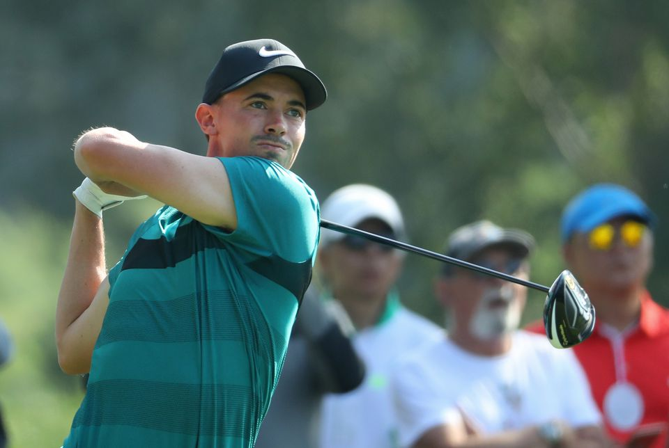 Paul Peterson of the USA tees off on the 11th hole during the second round of the USB Hong Kong Open