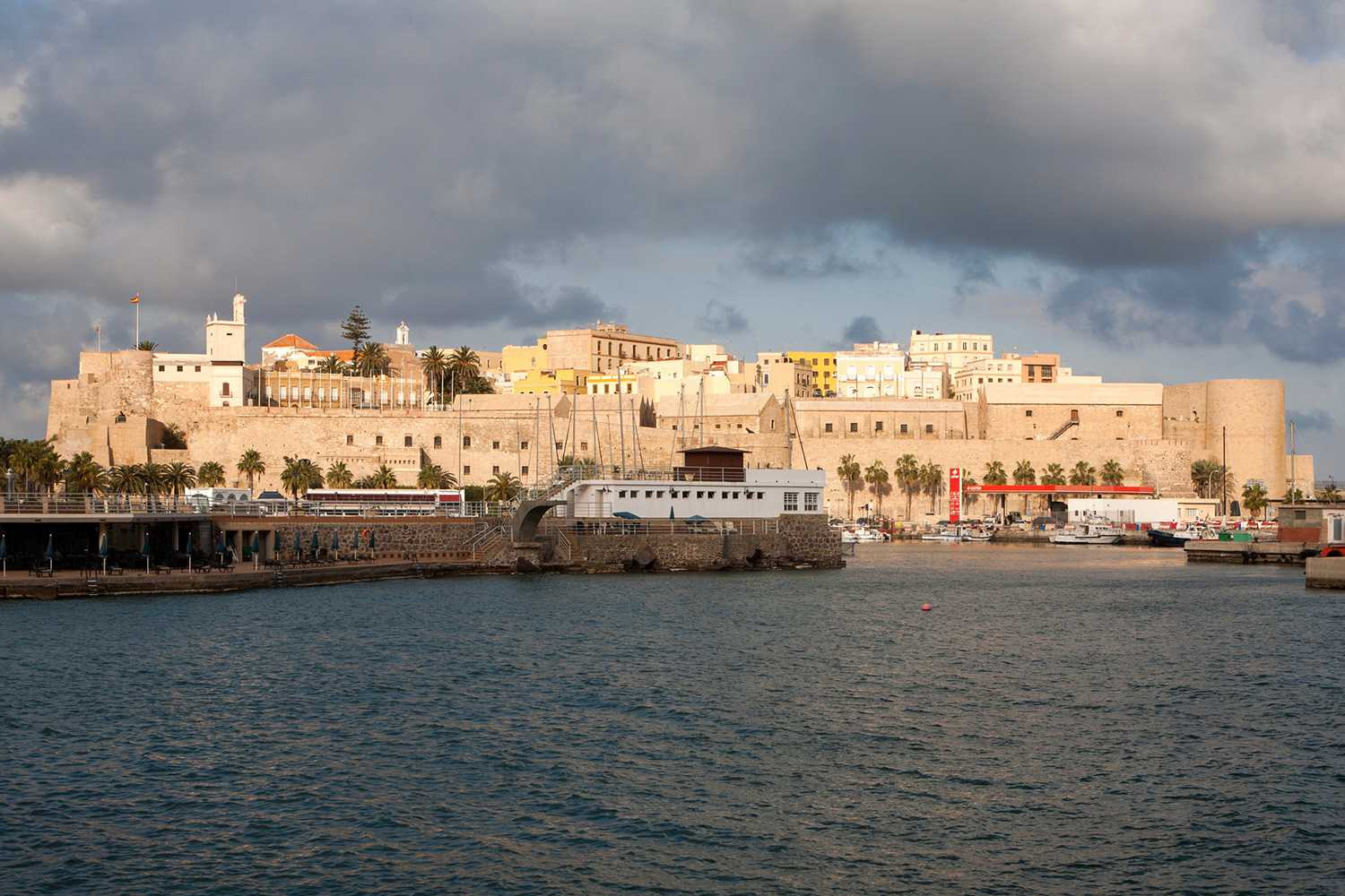 View of the walled city of Melilla from the harbor