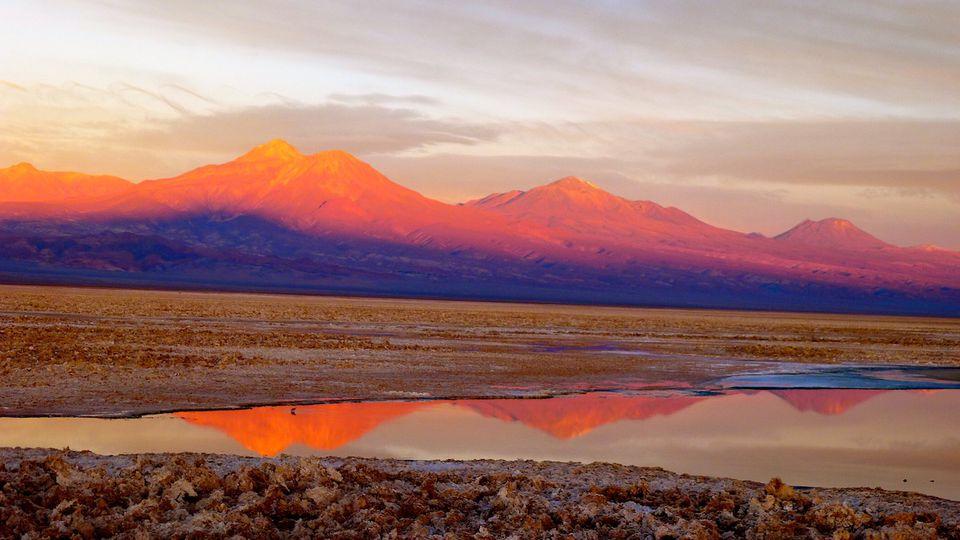 Atacama Desert salt flats at sunset