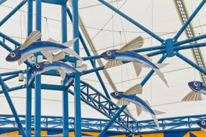 Flying Fish sculpture in the barbados international airport