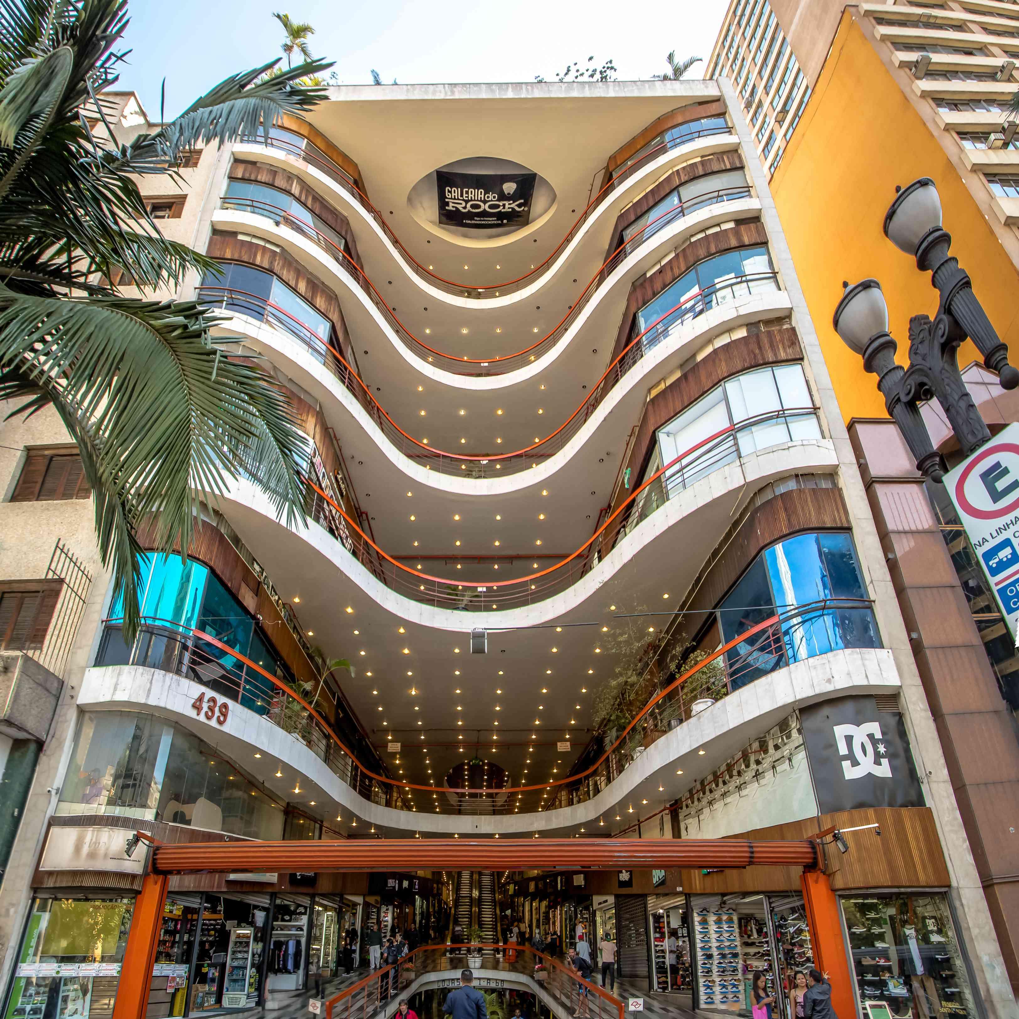 7-floor Galeria do Rock (Rock Gallery) Shopping Mall Facade in Downtown Sao Paulo