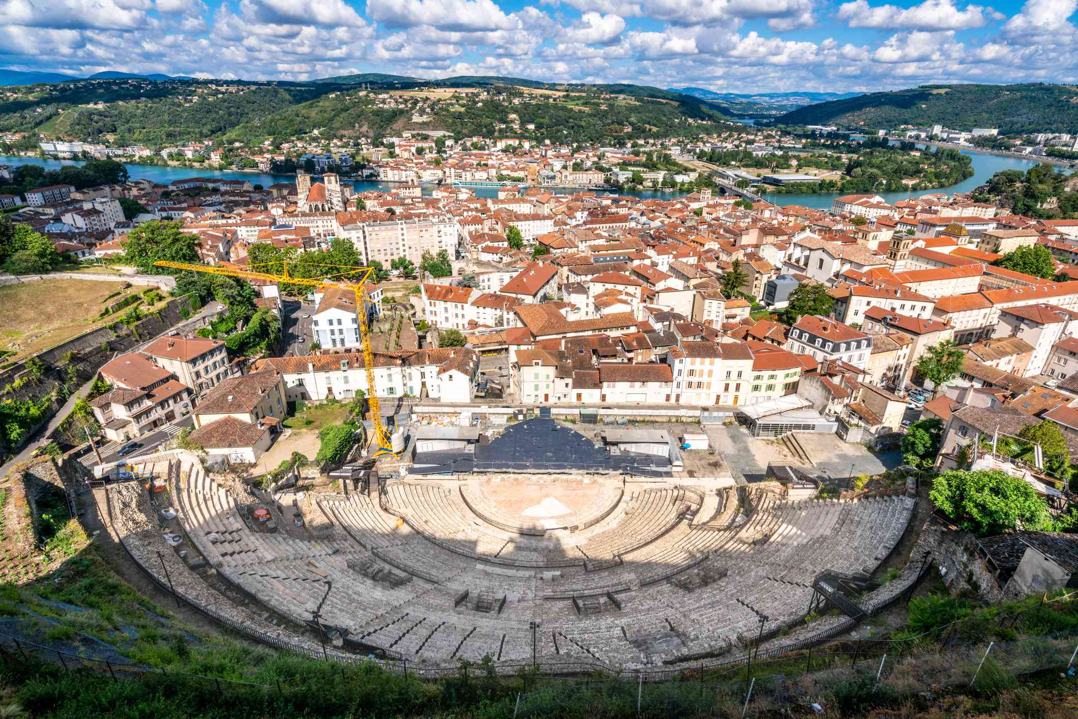 Cityscape of Vienne with the old city and aerial view of the ancient Gallo-Roman theatre in Vienne Isere France