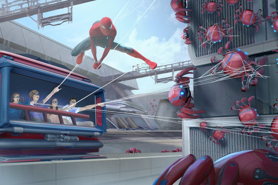 Concept Drawing of the Spider Man Ride at Disneyland