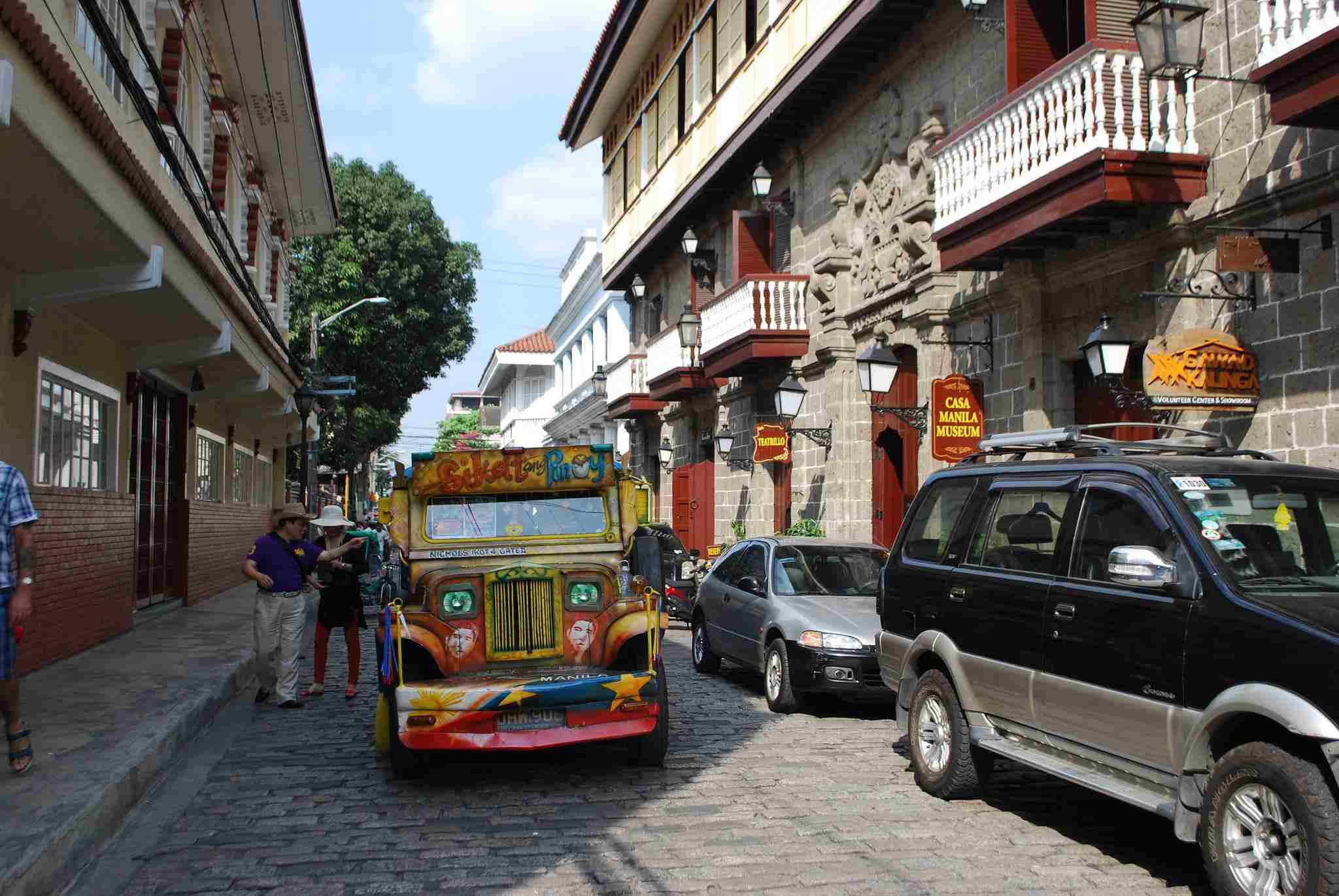 Jeepney on street in Intramuros, Manila