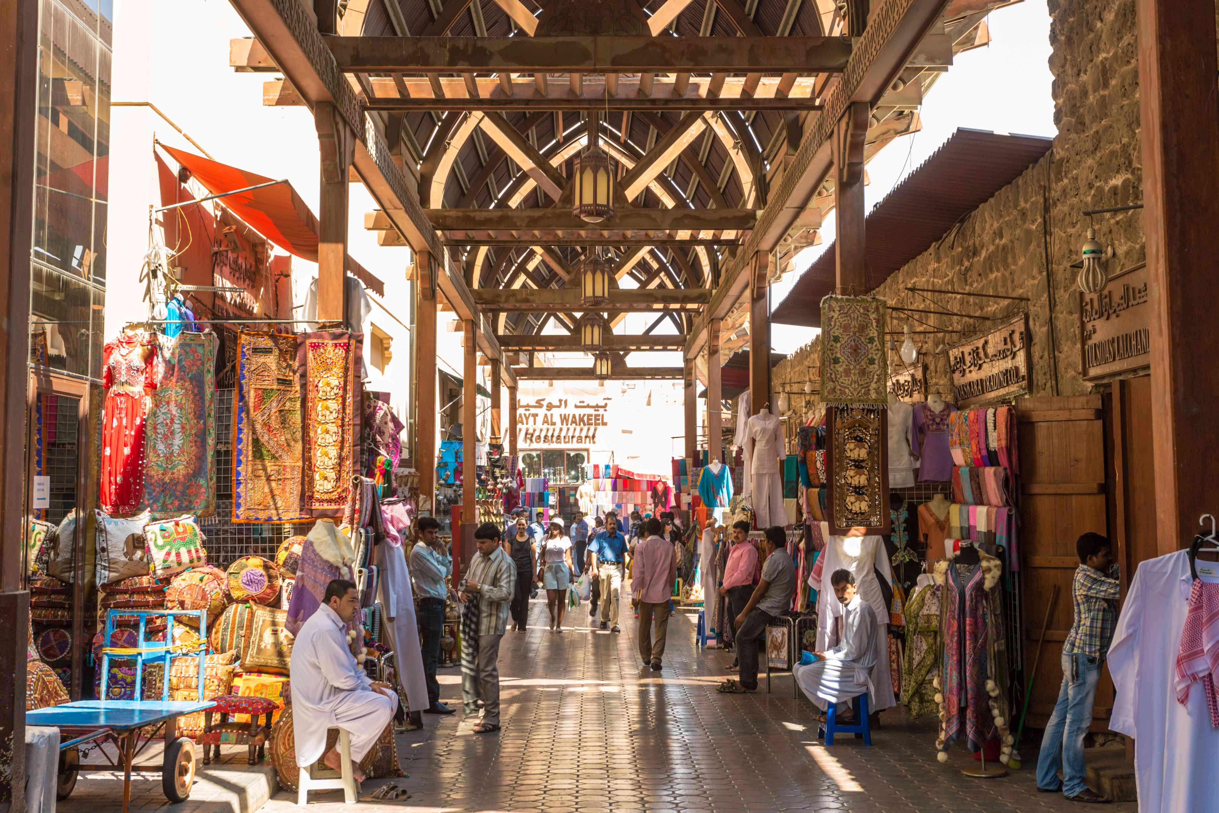 Textile souk crowded with people, Bur Dubai, UAE