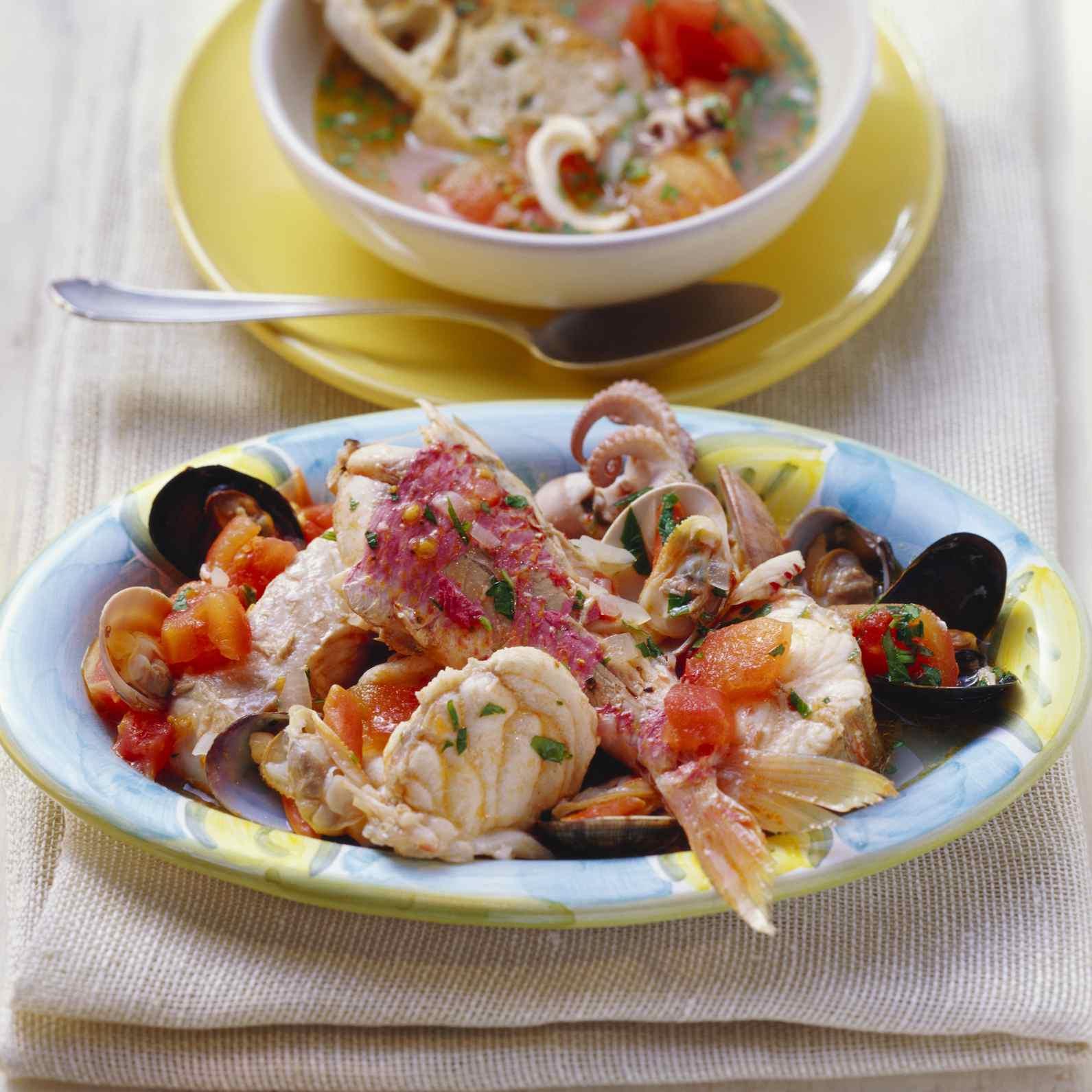 Cacciucco livornese (fish stew), Tuscany, Italy