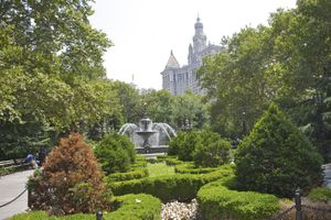 City Hall Park landscape in Civic center Manhattan