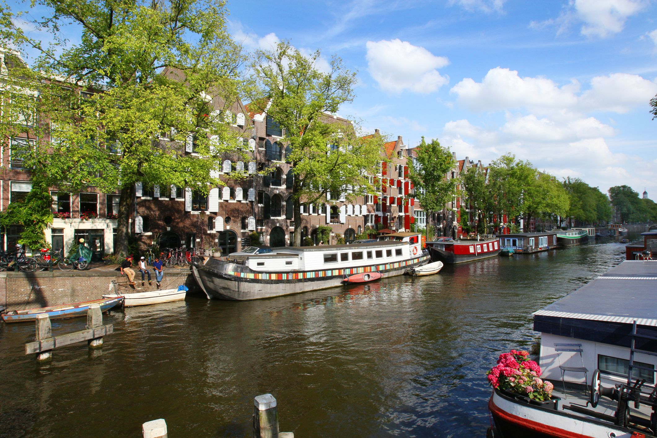 A beautiful canal and street in Amsterdam