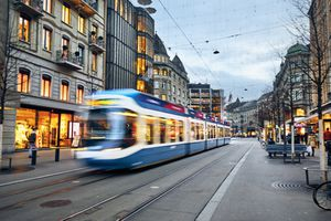 Swiss tram, cable car early evening on Bahnhofstrasse, Zurich, Switzerland