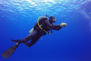A scuba diver near the surface.