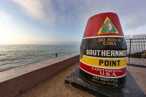 Buoy monument marking southern most point in United States at Key West, Florida