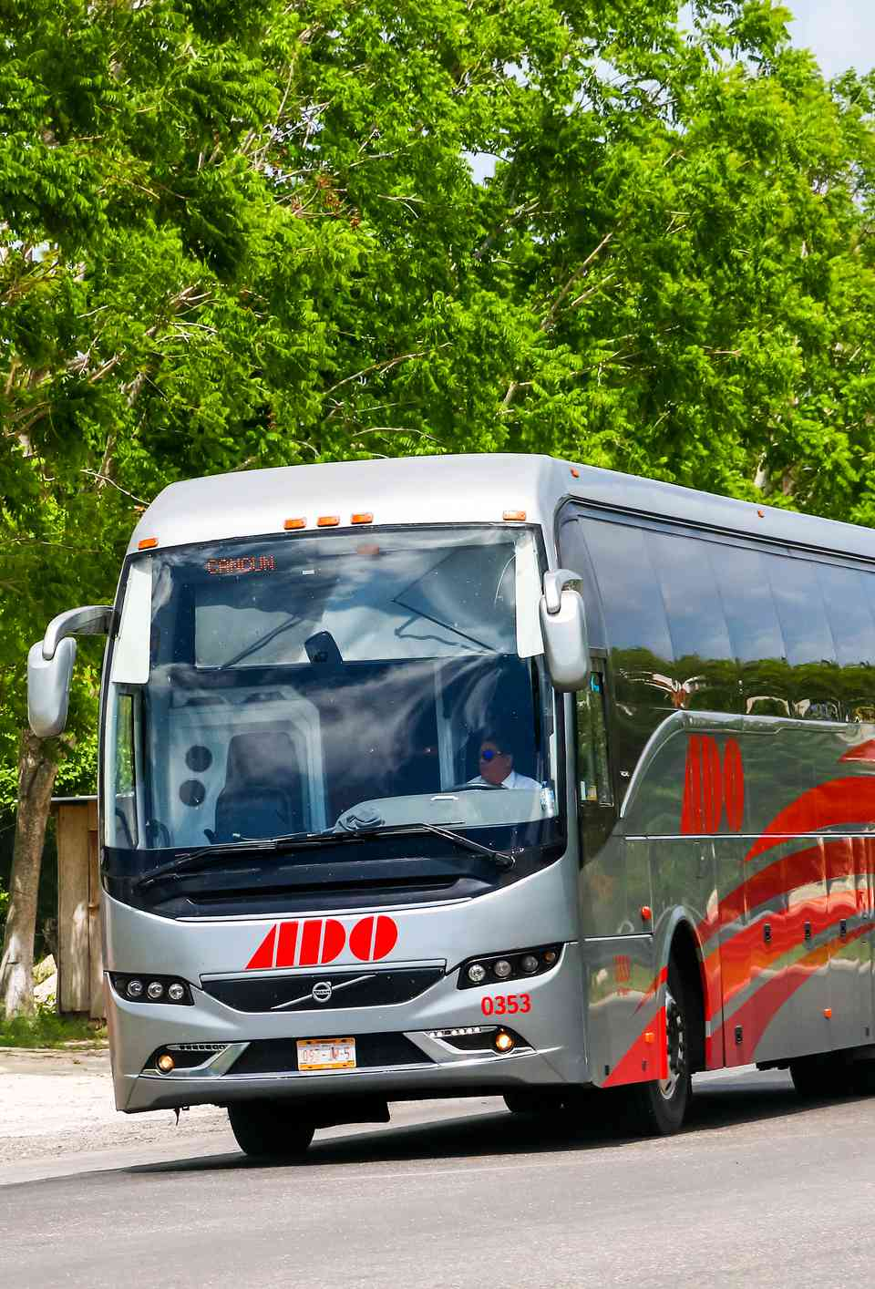 ADO bus on a highway in Mexico