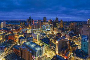 Skyline of Detroit Michigan at sunset aerial