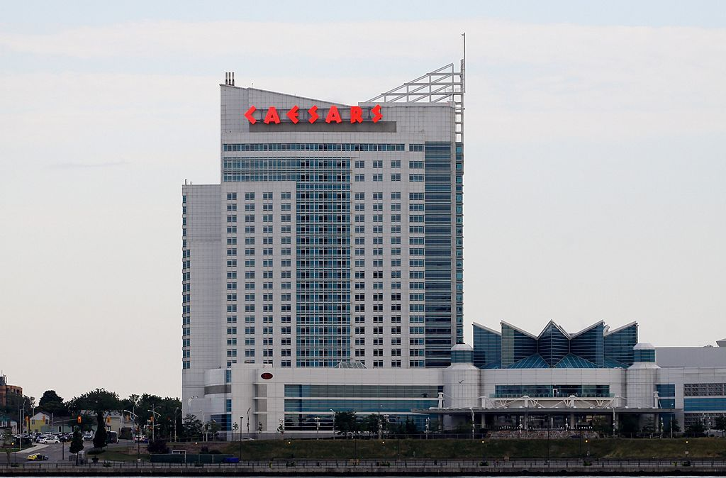 Caesars Windsor Hotel And As Photographed From The Gm International Riverwalk In Detroit