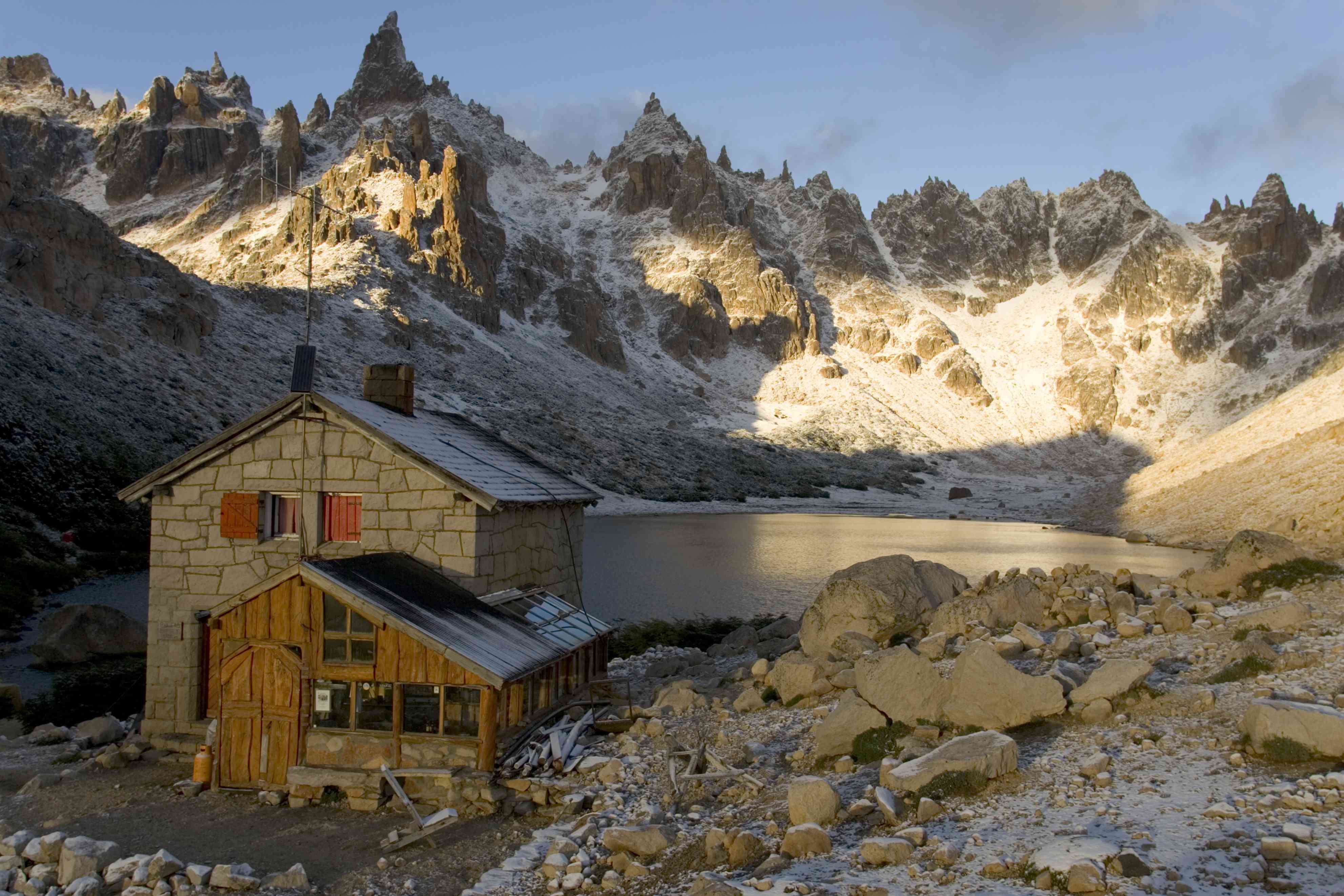 Refugio Frey by Laguna tonchek after a mid-summer snow storm.