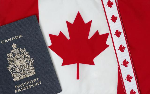 Canadian travel documents & flag