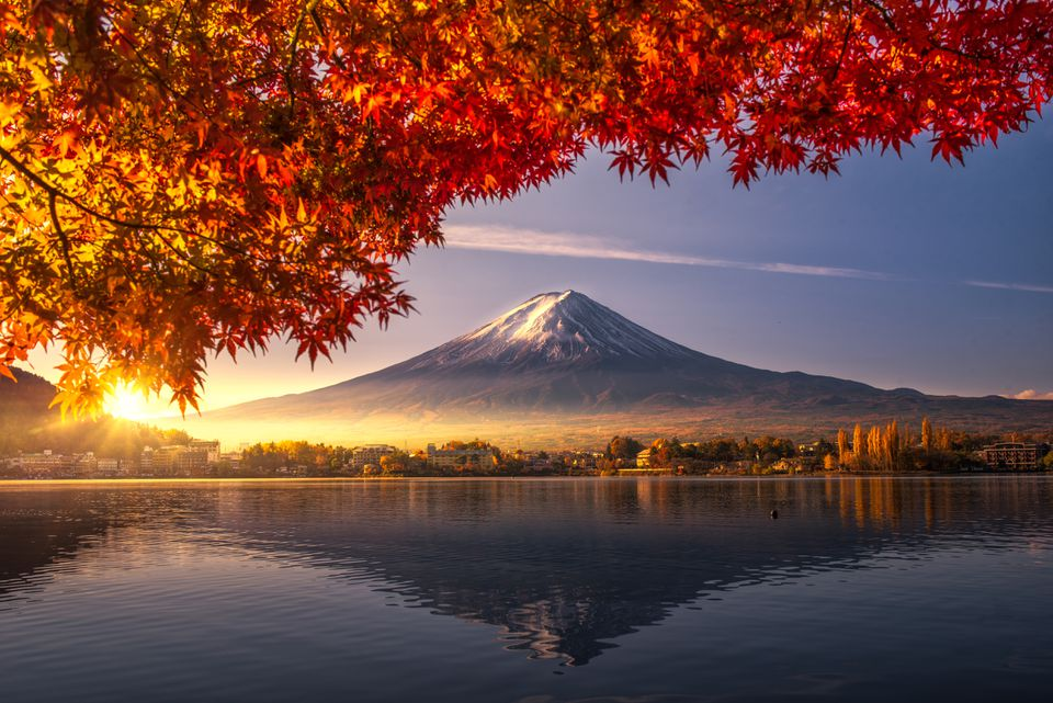 Mount Fuji in Japan during fall in Asia