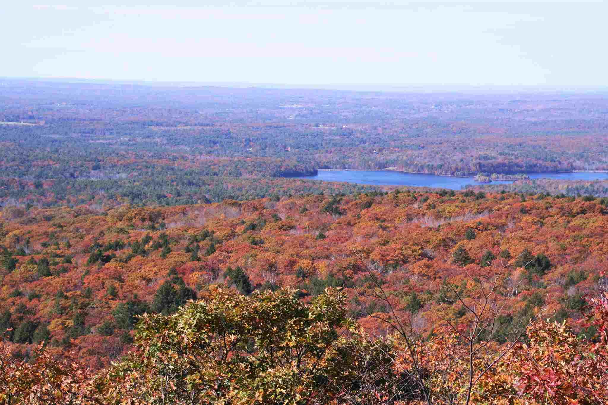 Blick auf Herbstlaub von der Spitze des Mount Wachusett