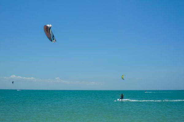 Kite surfing in Punta Blanca Beach.