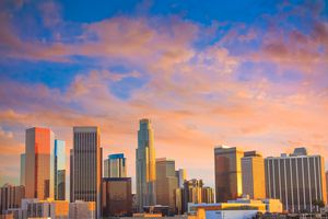 Dusk light with dramatic clouds in downtown Los Angeles,California