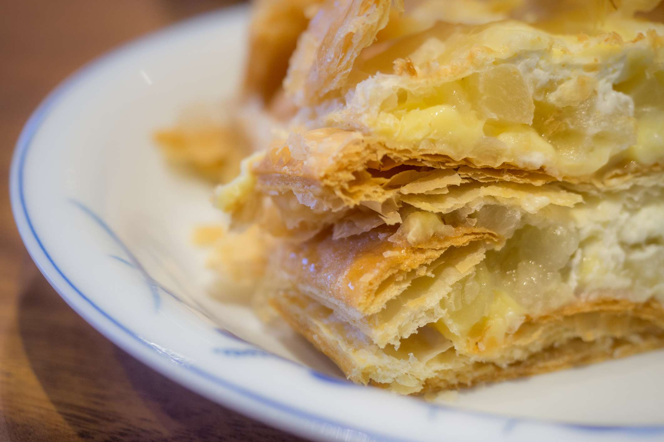 A strudel is a type of layered pastry with a filling that is usually sweet.