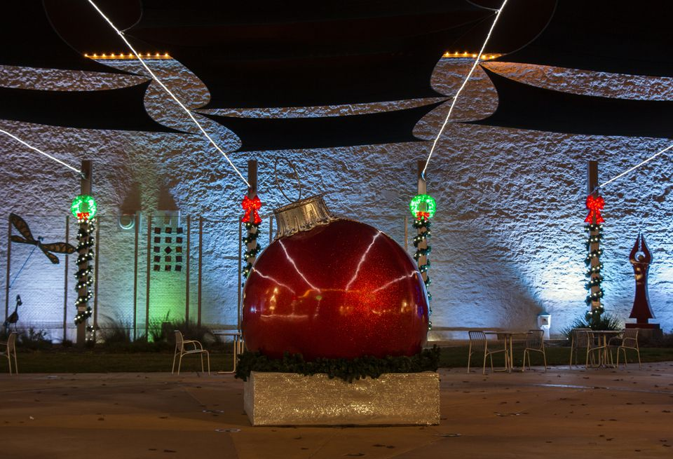 Large red ornament in the town square in Round Rock, Texas
