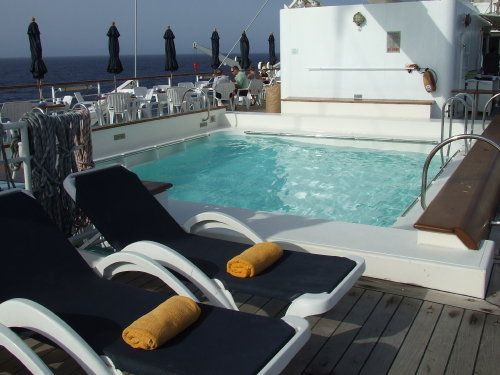 Outdoors on the deck of the Windstar Cruises' Wind Surf