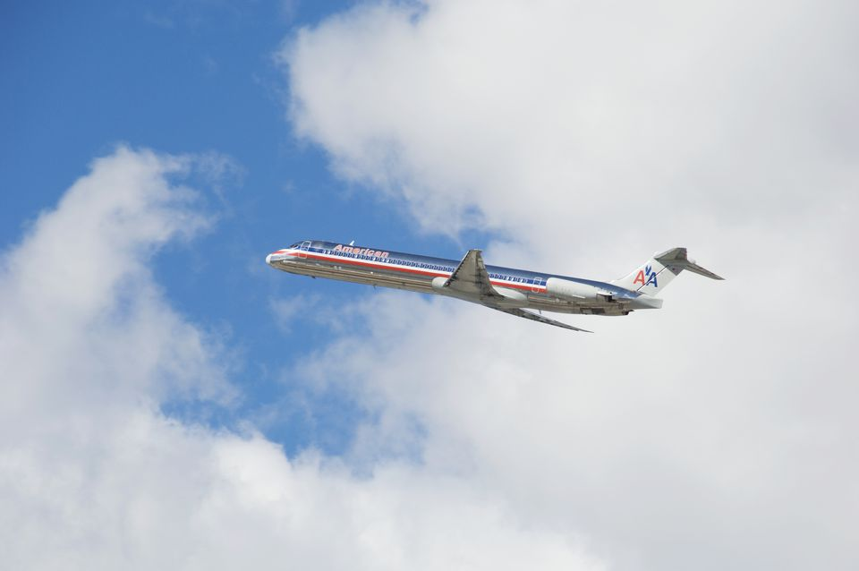 American Airlines Passenger Jet in Flight