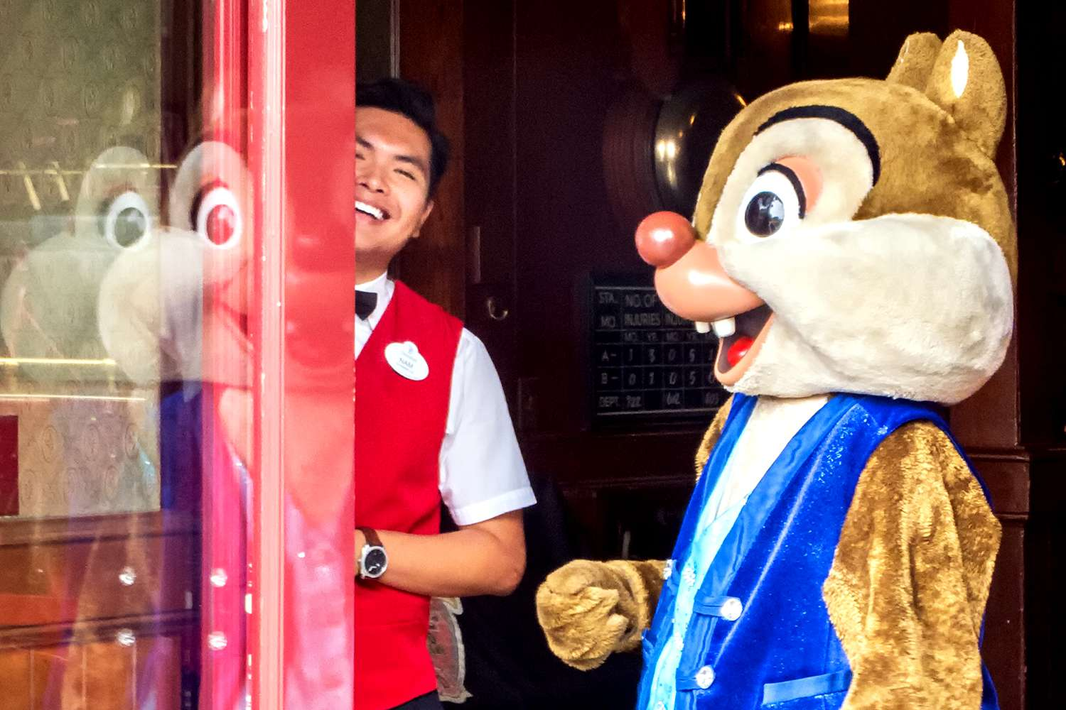 Chipmunk Character Dale and His Character Host at Disneyland