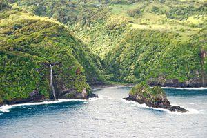 Sea Cliffs of Molokai with Waterfall.