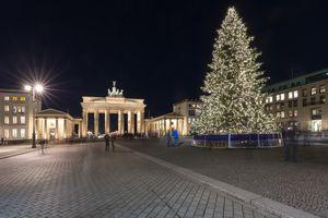Brandenburg Gate with christmas tree at night, Berlin, Germany