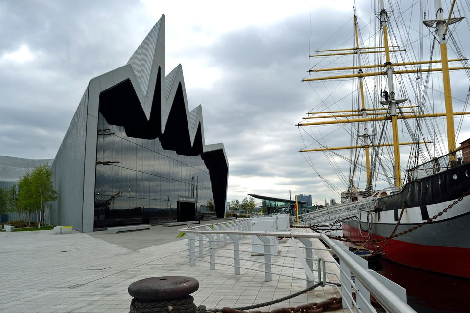Glasgow's award winning Riverside Museum with the Tall Ship Glenlee tied up alongside