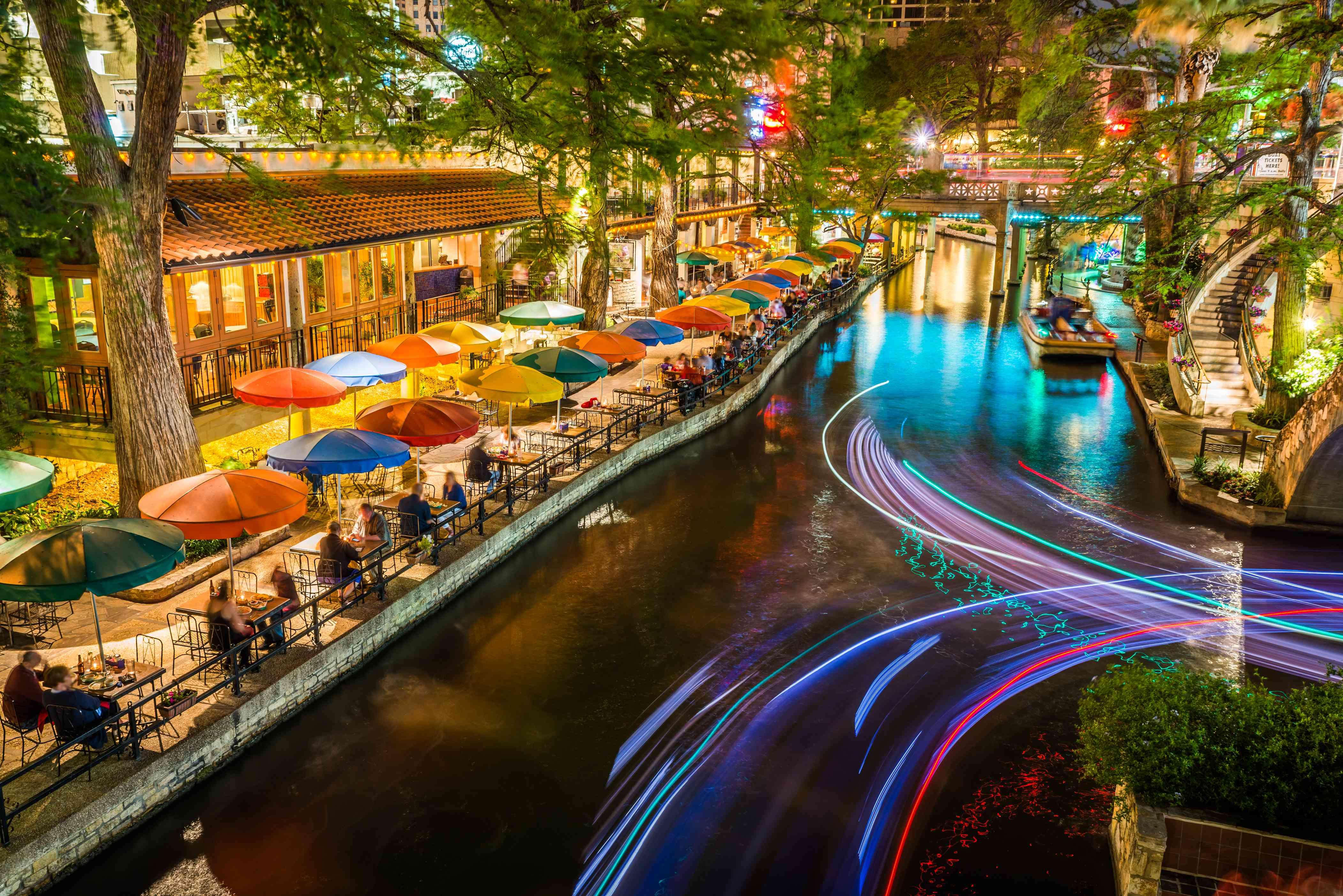 Long exposure image of the San Antonio Riverwalk at night