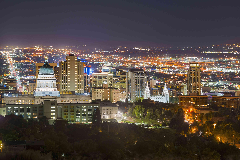 USA, Utah, Salt Lake City, Cityscape at night