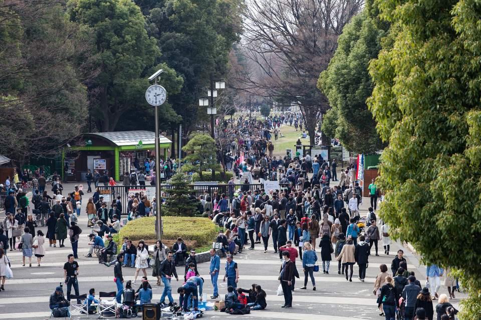 Busy Tokyo park Golden Week Japan