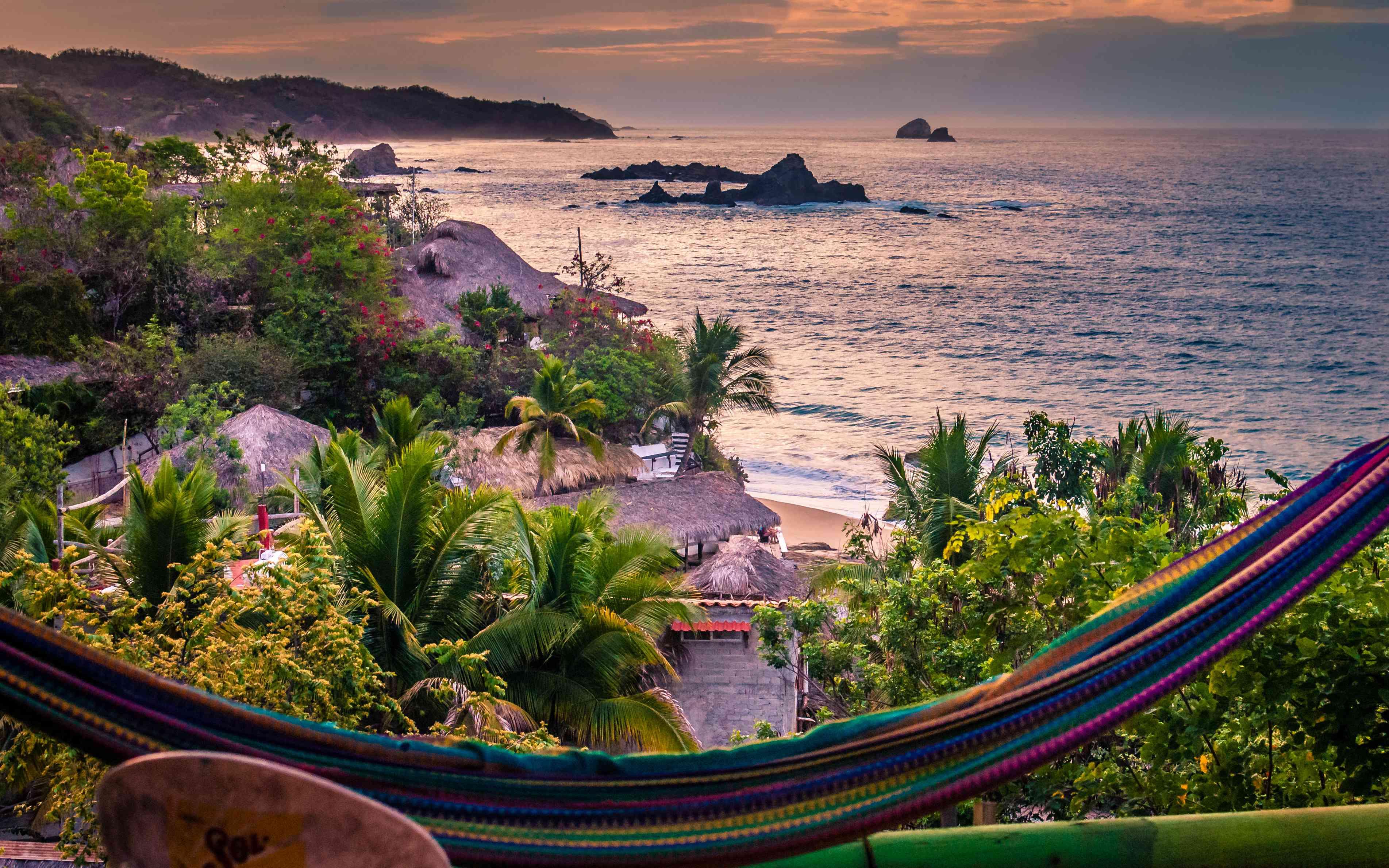 Scenic view of beach at Puerto Escondido, Mexico