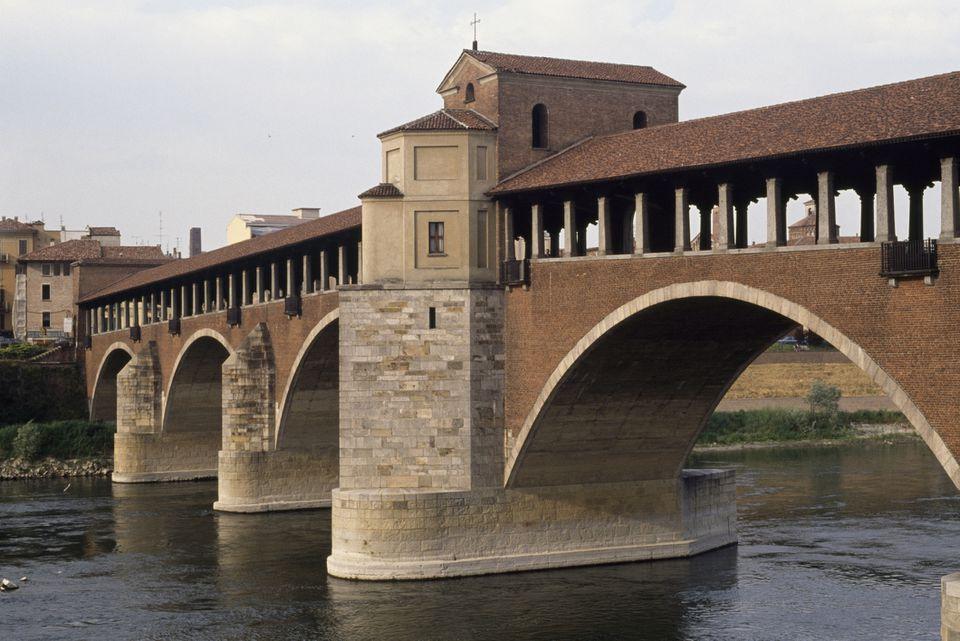Covered bridge in Pavia, Italy