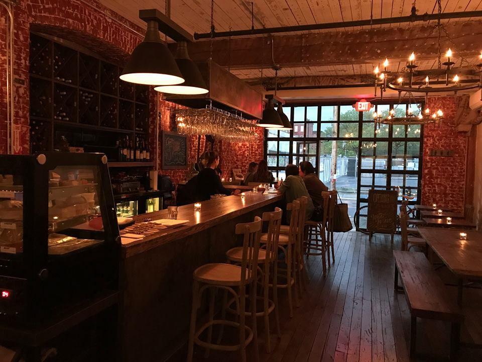 the bar inside West Wine Bar