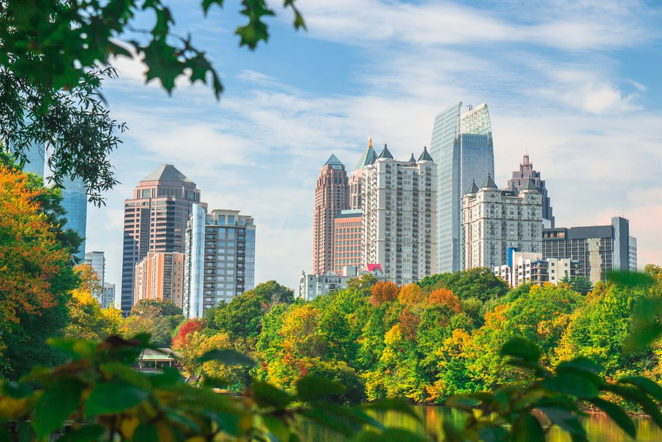 A view of the Midtown Atlanta skyline from Piedmont Park during the fall season with trees in the foreground