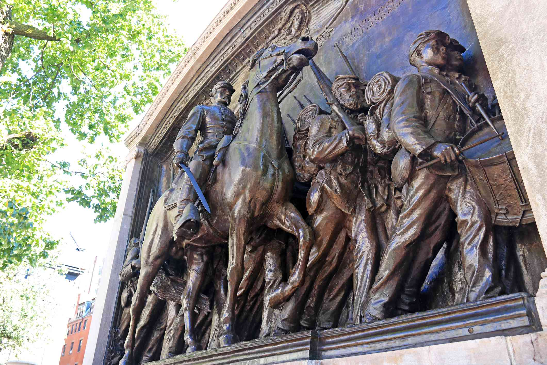 A bronze relief sculpture by Augustus Saint-Gaudens. This is a memorial to Colonel Shaw and the civil war's first African American Infantry, the 54th Massachusetts Infantry.