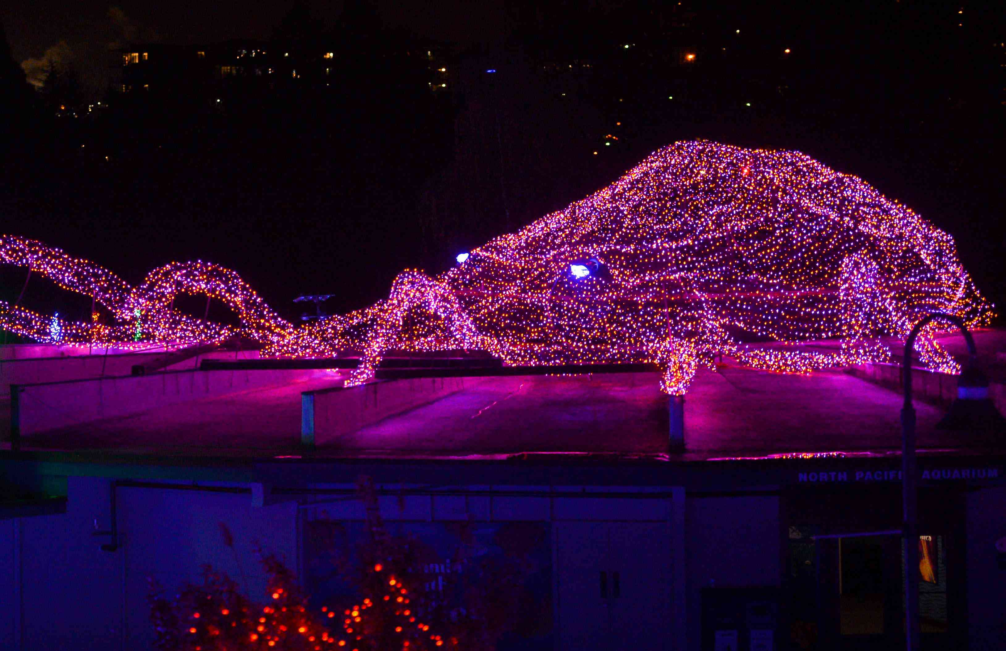 Lights in the shape of an octopus at Point Defiance Zoo & Aquarium