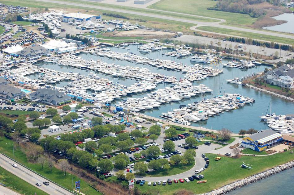 Aerial view of a yacht show