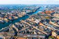 Copenhagen, Denmark. New Harbour canal and entertainment famous street. Aerial shoot view from the top