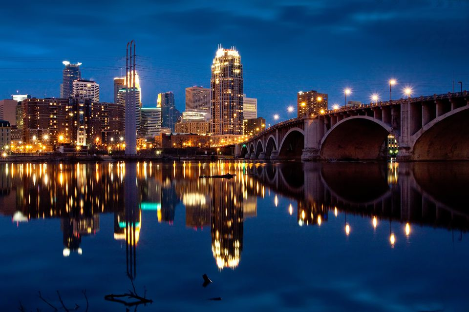 Minneapolis skyline illuminated at night