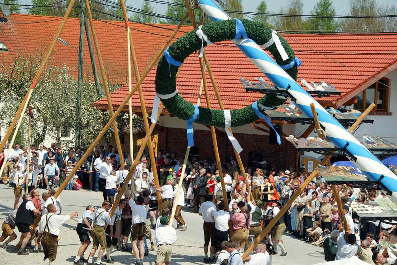 Vista de personas levantando un palo de mayo, Unterbrunn, distrito de Starnberg, Alta Baviera, Alemania